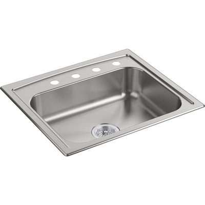 25-in x 22-in Stainless Steel Single-Basin Undermount 4-Hole Residential  Kitchen Sink