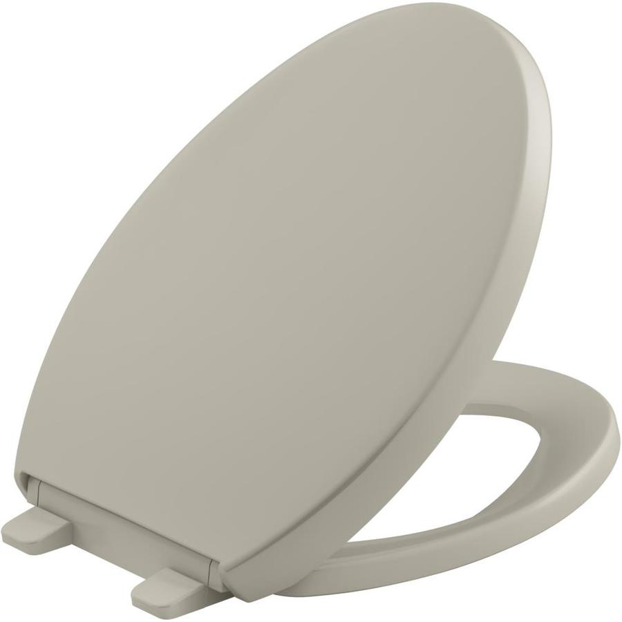 KOHLER Grip-Tight Reveal Sandbar Plastic Elongated Slow-Close Toilet Seat