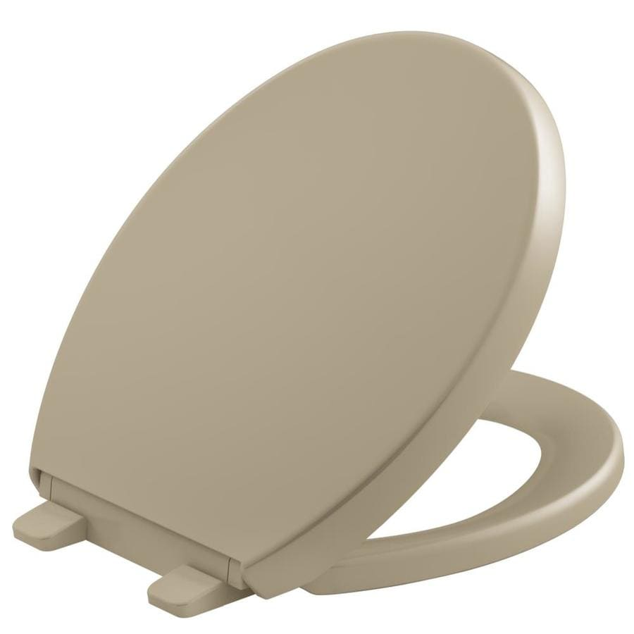 KOHLER Quiet Close Grip-Tight Reveal Q6 Plastic Round Slow Close Feature Toilet Seat