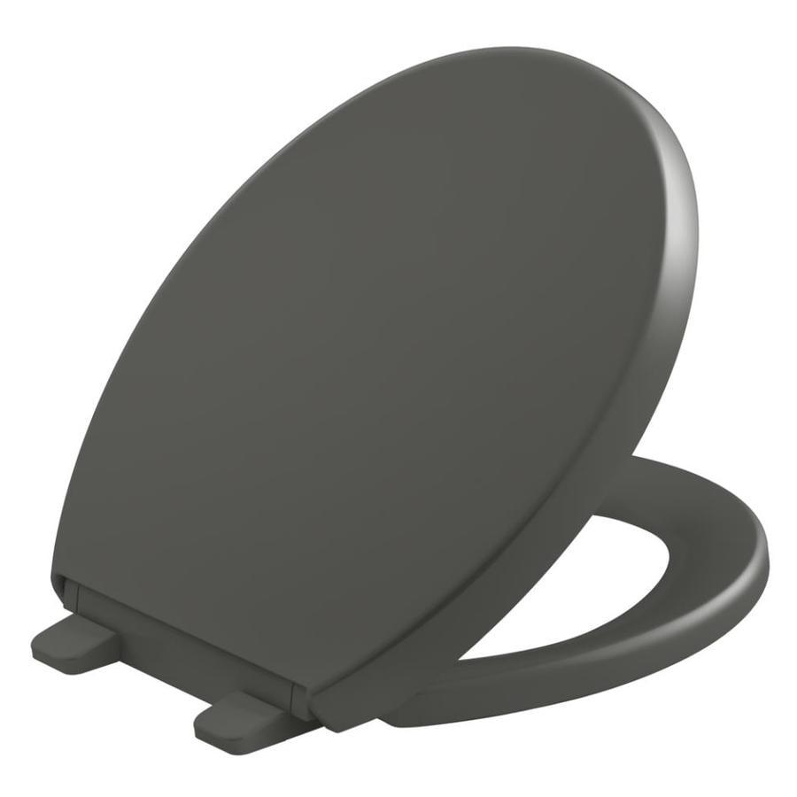 KOHLER Quiet Close Grip-Tight Reveal Q8 Plastic Round Slow Close Toilet Seat