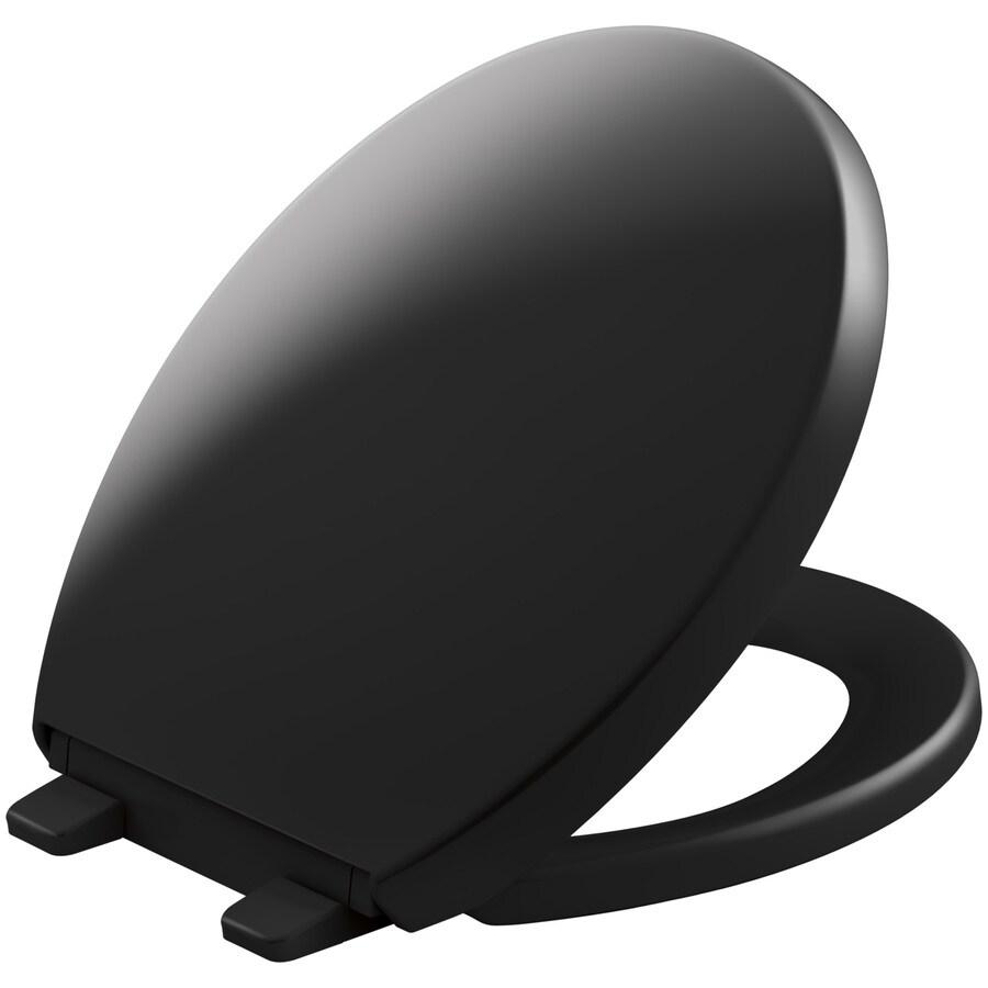 KOHLER Grip-Tight Reveal Black Plastic Round Slow-Close Toilet Seat