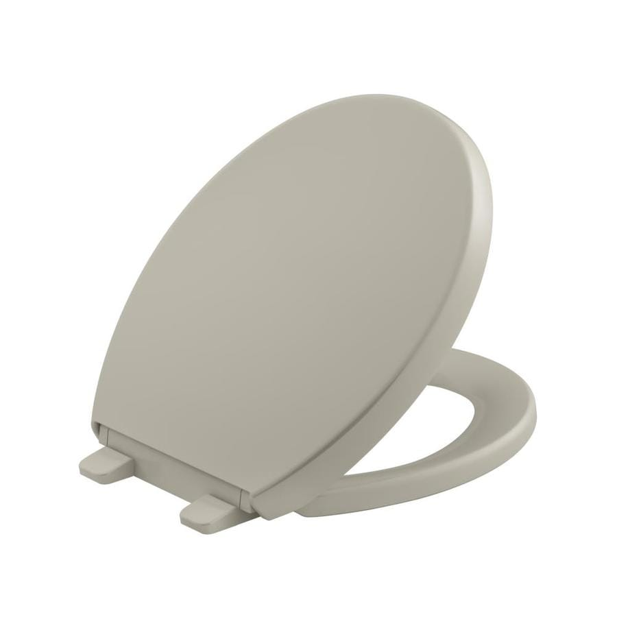 KOHLER Grip-Tight Reveal Sandbar Plastic Round Slow-Close Toilet Seat