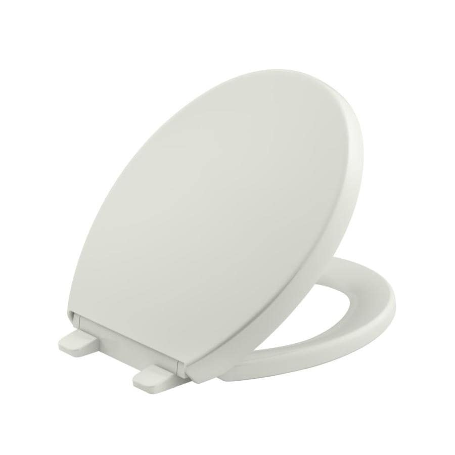 KOHLER Grip-Tight Reveal Dune Plastic Round Slow-Close Toilet Seat