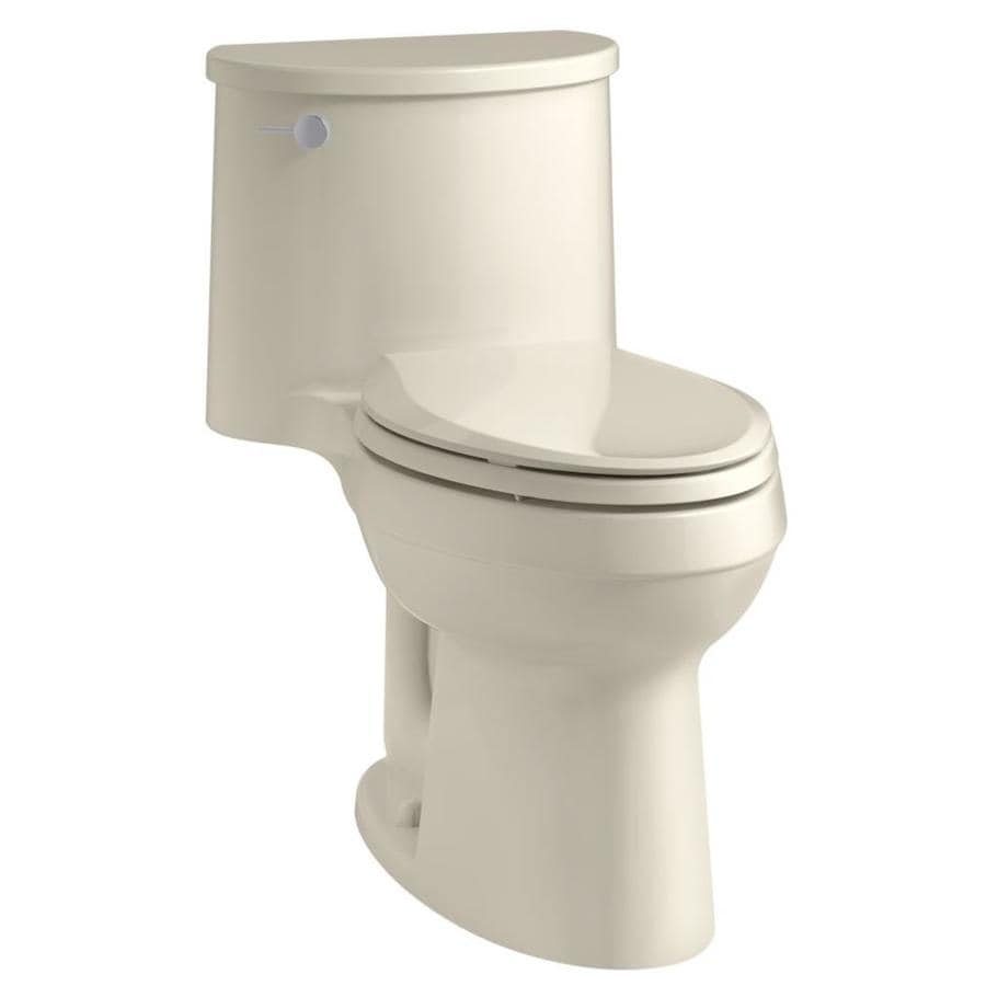 KOHLER Adair Almond WaterSense Labeled  Elongated Chair Height 1-piece Toilet 12-in Rough-In Size