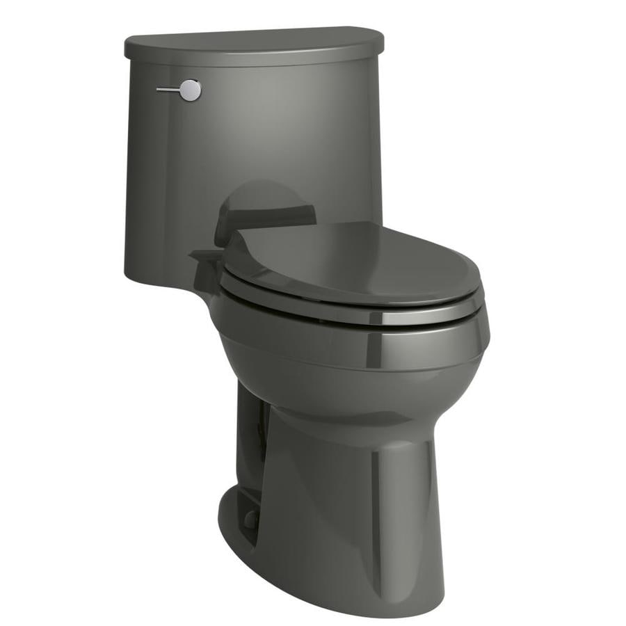 KOHLER Adair 1.28-GPF (4.85-LPF) Thunder gray Elongated Chair Height 1-piece Toilet