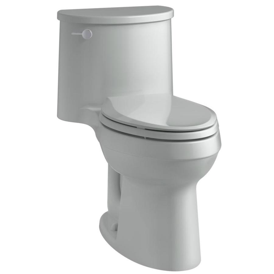 KOHLER Adair Ice gray WaterSense Labeled  Elongated Chair Height 1-piece Toilet 12-in Rough-In Size