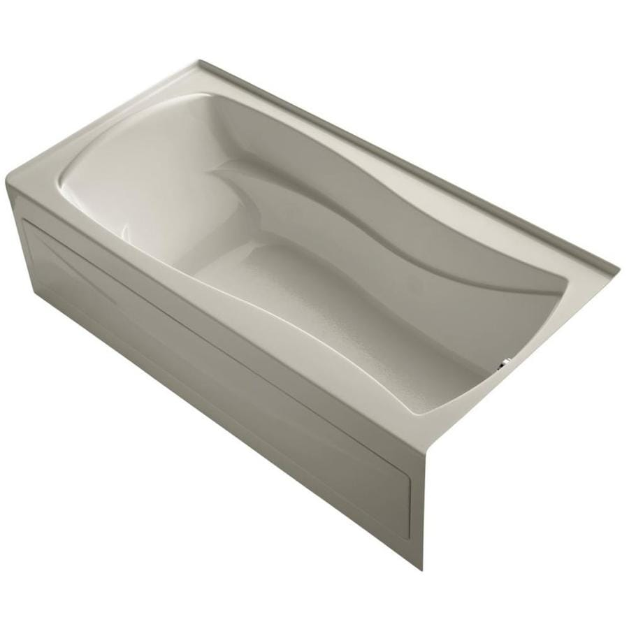 KOHLER Mariposa Sandbar Acrylic Hourglass In Rectangle Alcove Bathtub with Right-Hand Drain (Common: 36-in x 72-in; Actual: 20-in x 36-in x 72-in)