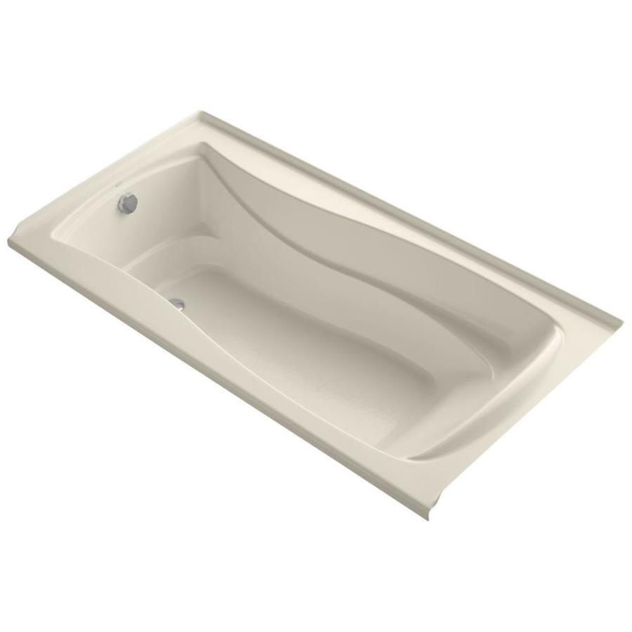 KOHLER Mariposa 72-in Almond Acrylic Alcove Bathtub with Left-Hand Drain