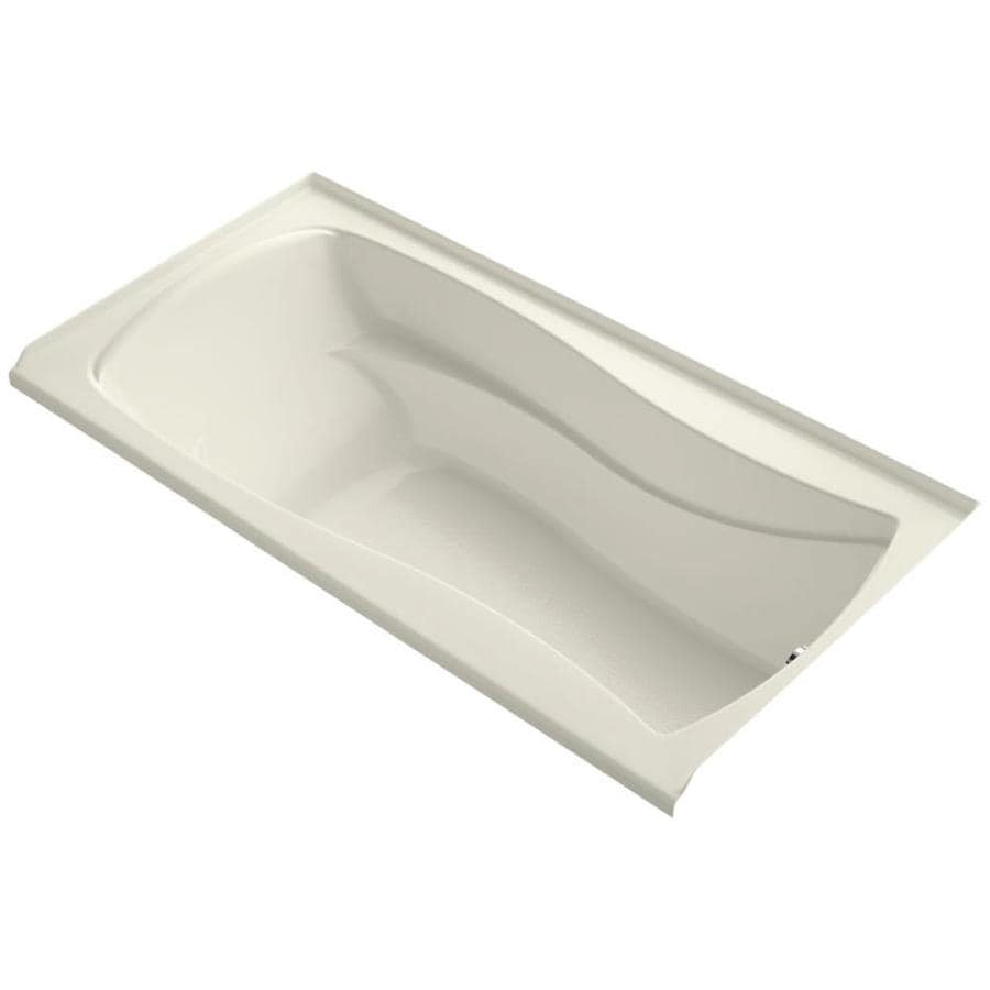 KOHLER Mariposa Biscuit Acrylic Hourglass In Rectangle Alcove Bathtub with Right-Hand Drain (Common: 36-in x 72-in; Actual: 20-in x 36-in x 72-in)
