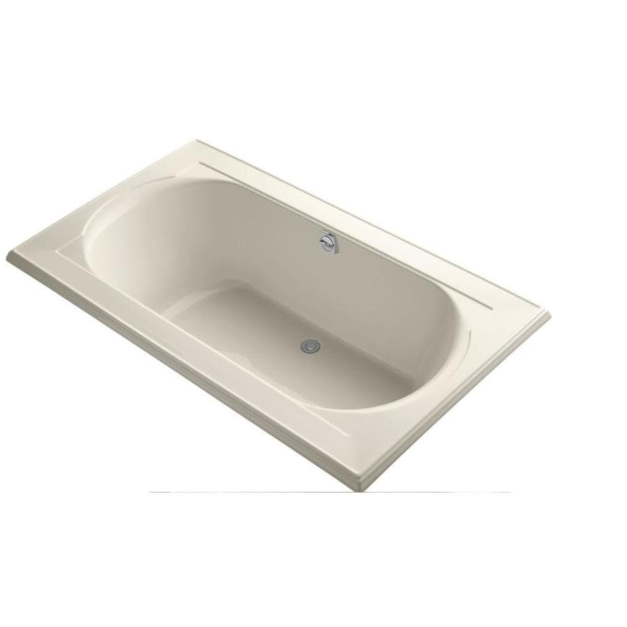 KOHLER Memoirs 72-in Almond Acrylic Drop-In Bathtub with Reversible Drain