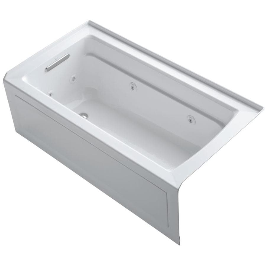 KOHLER Archer White Acrylic Rectangular Alcove Whirlpool Tub (Common: 32-in x 60-in; Actual: 21.25-in x 32-in)