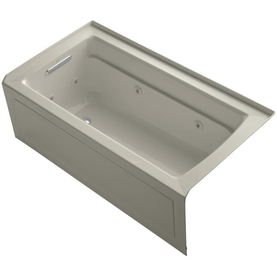 KOHLER Archer 60-in Sandbar Acrylic Alcove Whirlpool Tub with Left-Hand Drain