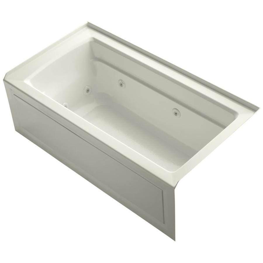 KOHLER Archer Biscuit Acrylic Rectangular Alcove Whirlpool Tub (Common: 32-in x 60-in; Actual: 21.25-in x 32-in)