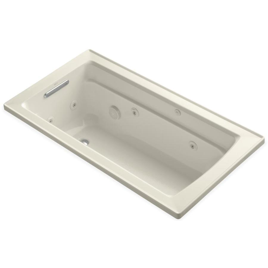 KOHLER Archer 60-in Almond Acrylic Drop-In Whirlpool Tub with Reversible Drain