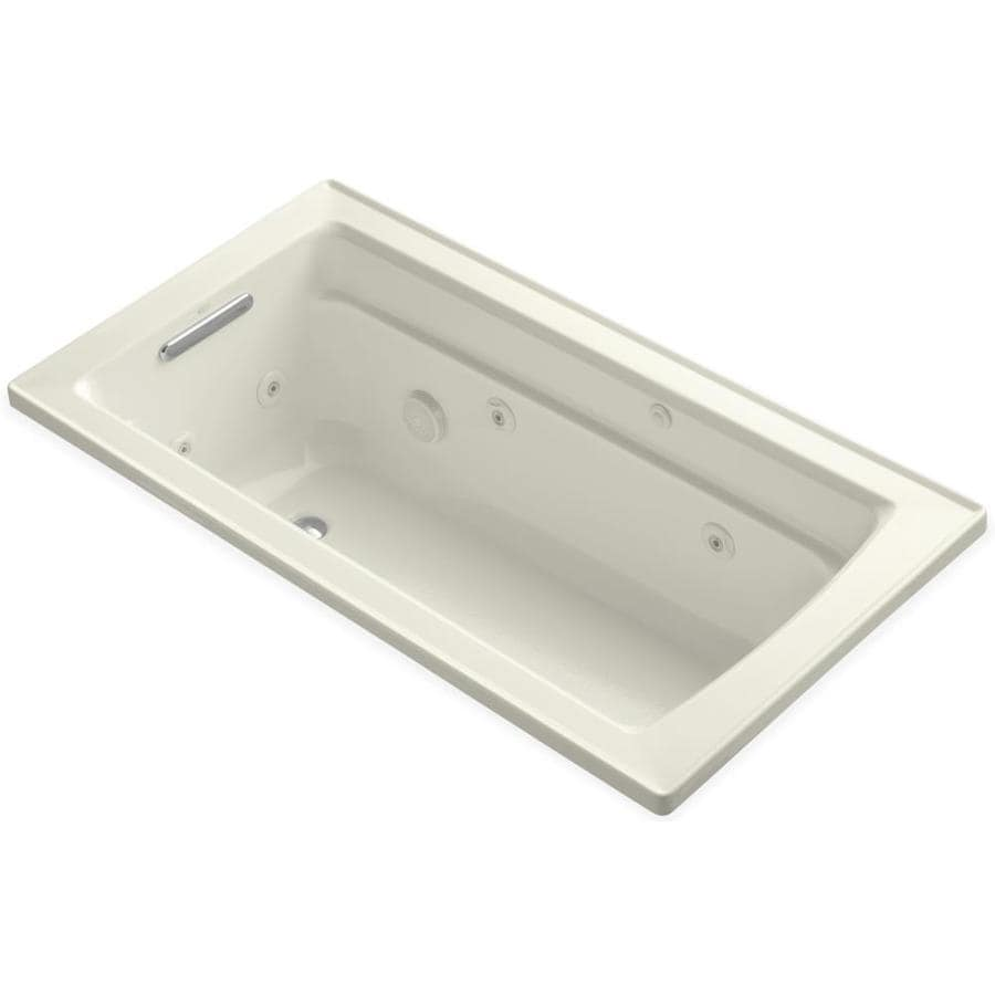 KOHLER Archer Biscuit Acrylic Rectangular Whirlpool Tub (Common: 32-in x 60-in; Actual: 19.0000-in x 32.0000-in x 60.0000-in)