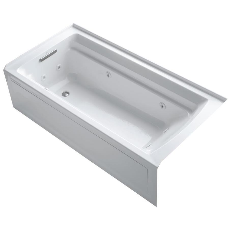 KOHLER Archer 72-in White Acrylic Alcove Whirlpool Tub with Left-Hand Drain