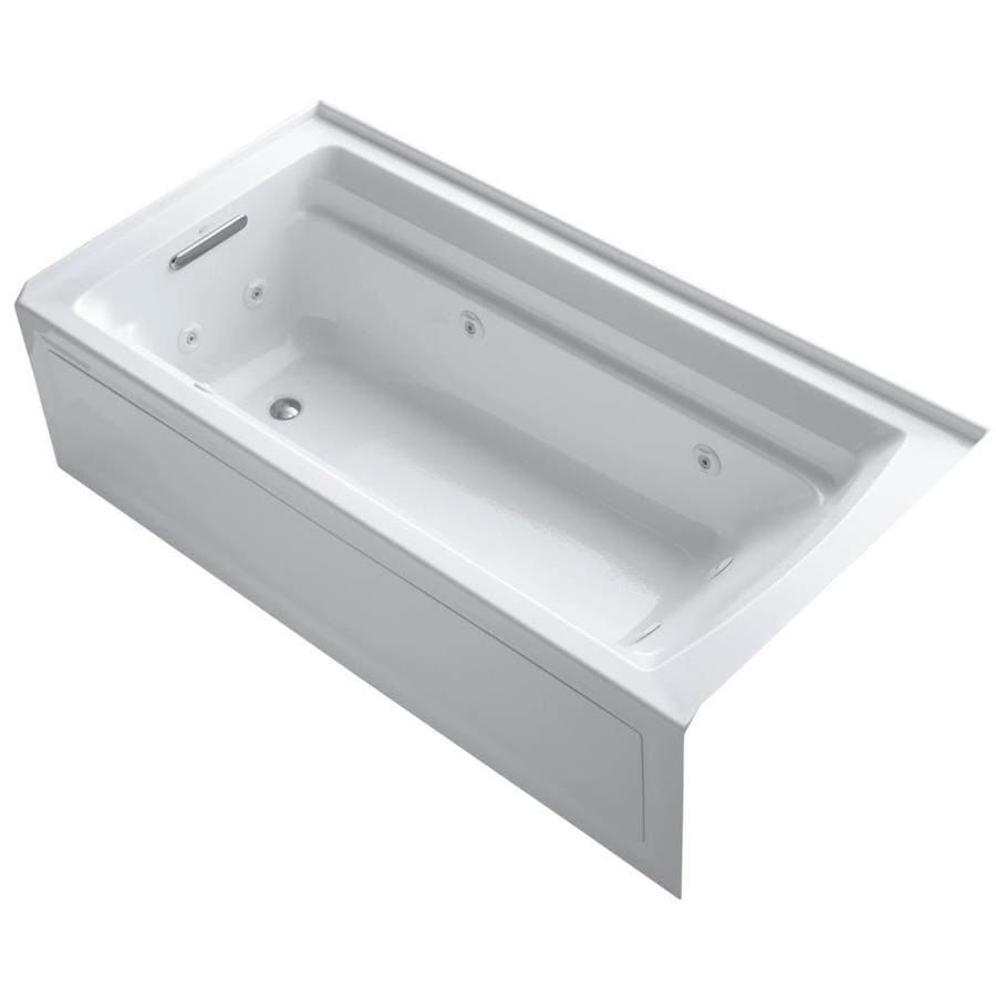 KOHLER Archer White Acrylic Rectangular Alcove Whirlpool Tub (Common: 36-in x 72-in; Actual: 20.25-in x 36-in)