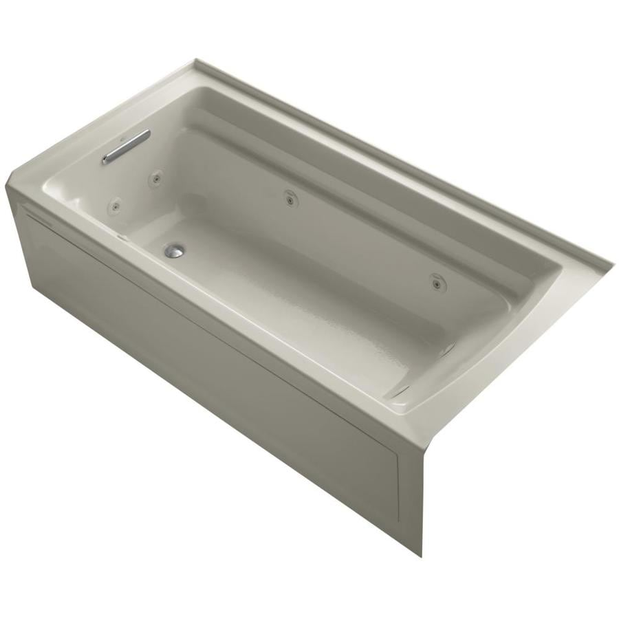KOHLER Archer Sandbar Acrylic Rectangular Alcove Whirlpool Tub (Common: 36-in x 72-in; Actual: 20.25-in x 36-in)