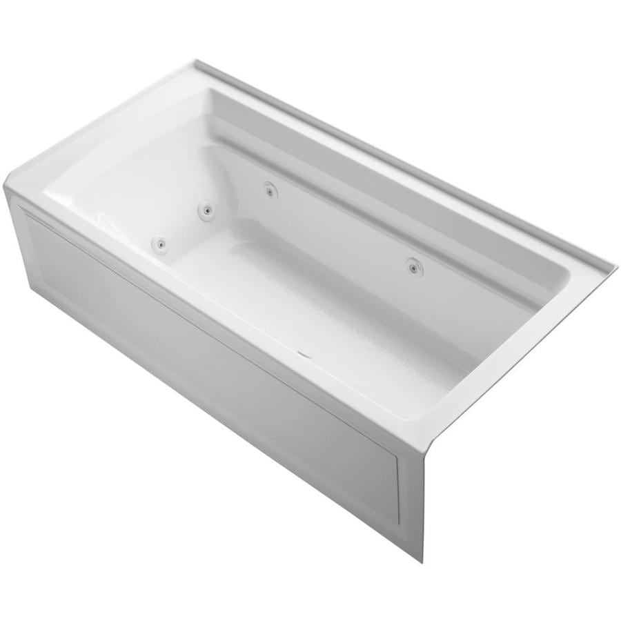 KOHLER Archer 72-in White Acrylic Alcove Whirlpool Tub with Right-Hand Drain