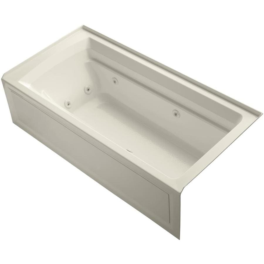 KOHLER Archer Almond Acrylic Rectangular Whirlpool Tub (Common: 36-in x 72-in; Actual: 20.25-in x 36-in x 72-in)