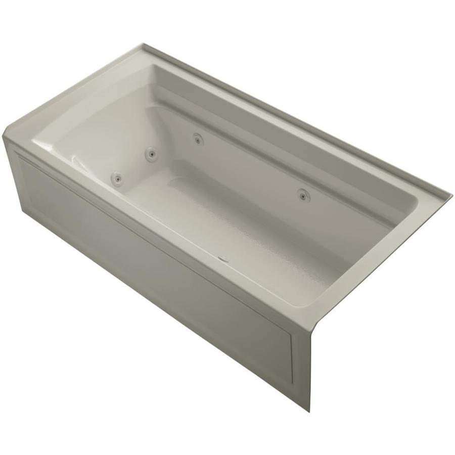 KOHLER Archer 72-in Sandbar Acrylic Alcove Whirlpool Tub with Right-Hand Drain