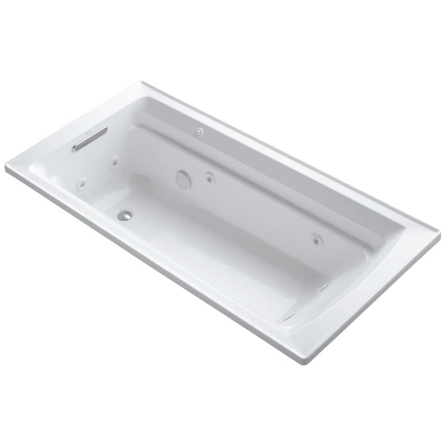 KOHLER Archer 72-in White Acrylic Drop-In Whirlpool Tub with Reversible Drain