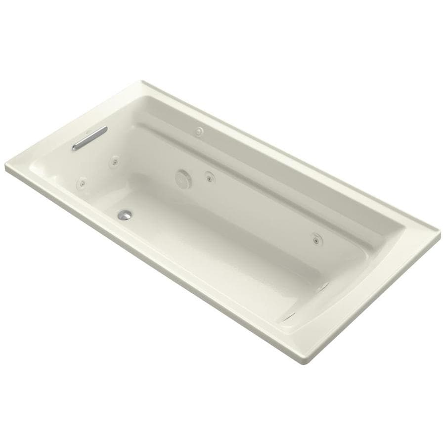 KOHLER Archer 72-in Biscuit Acrylic Drop-In Whirlpool Tub with Reversible Drain
