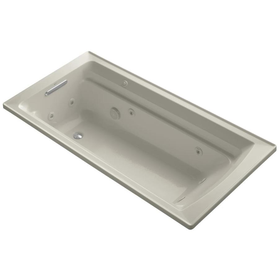 KOHLER Archer 72-in Sandbar Acrylic Drop-In Whirlpool Tub with Reversible Drain