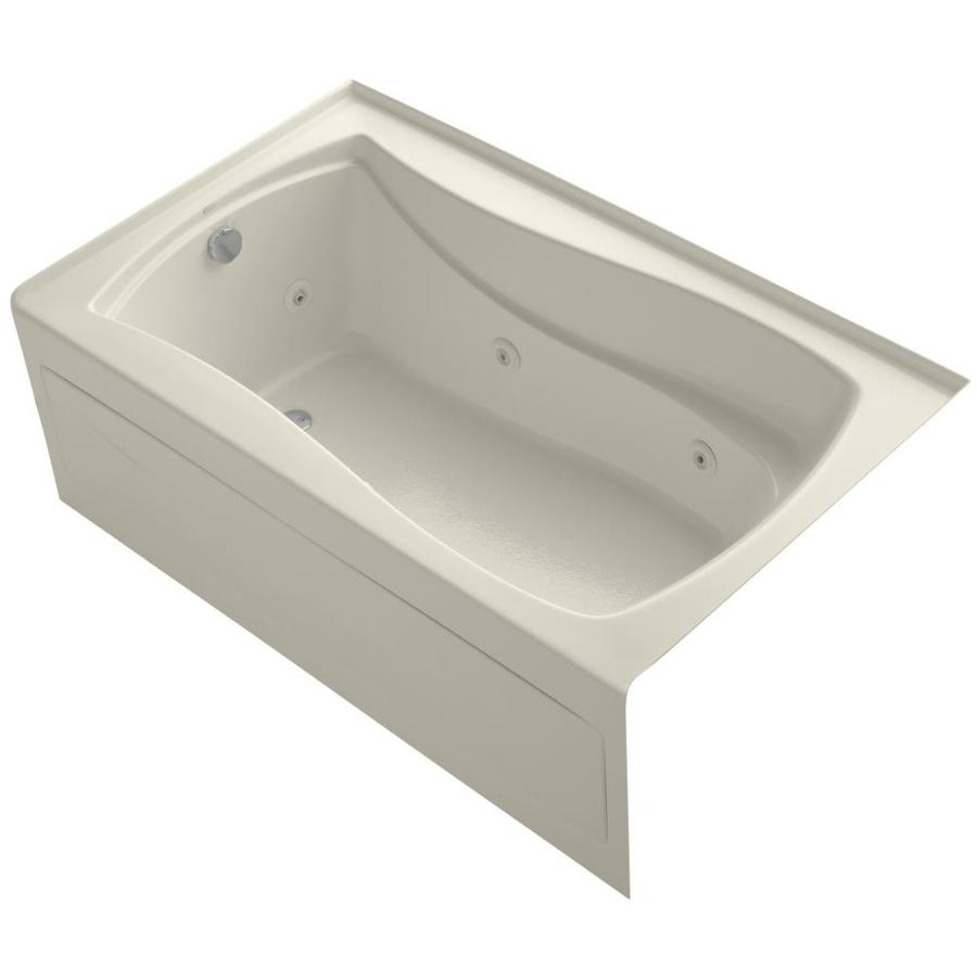 KOHLER Mariposa 60-in Almond Acrylic Alcove Whirlpool Tub with Left-Hand Drain