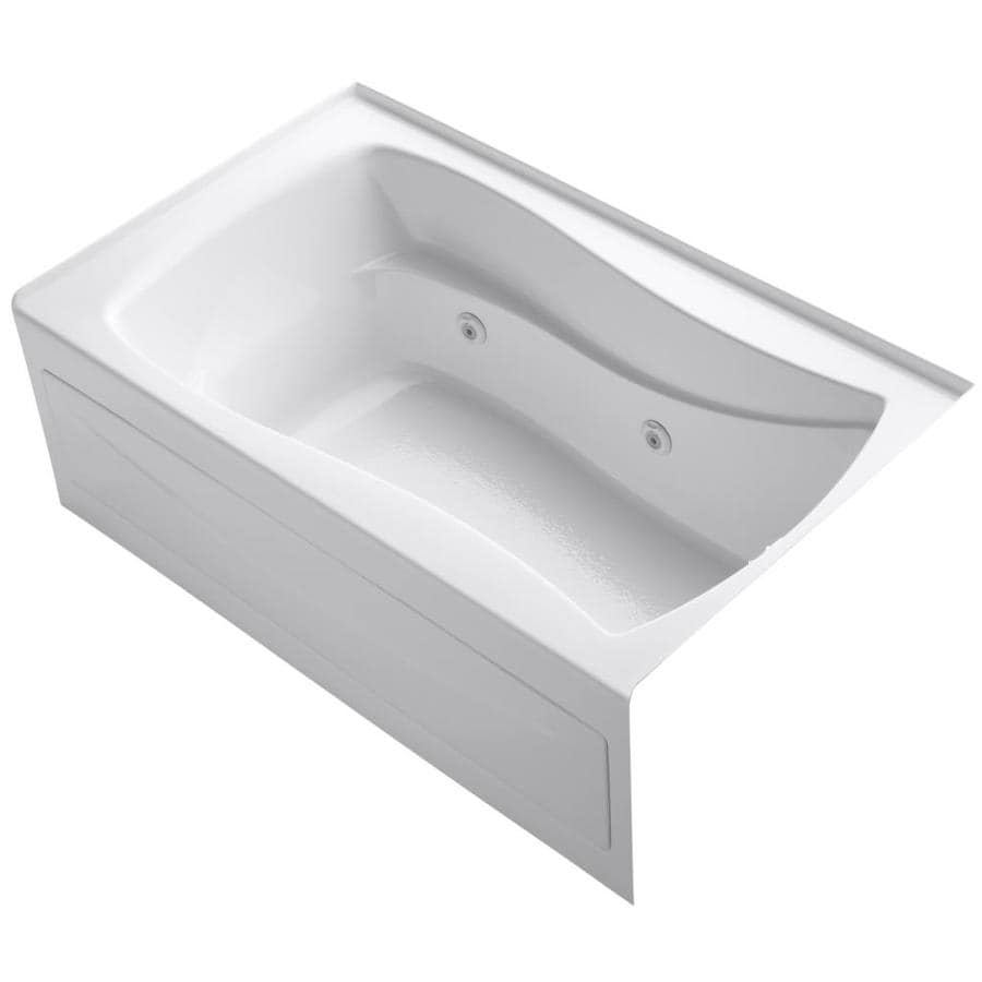KOHLER Mariposa 60-in White Acrylic Alcove Whirlpool Tub with Right-Hand Drain