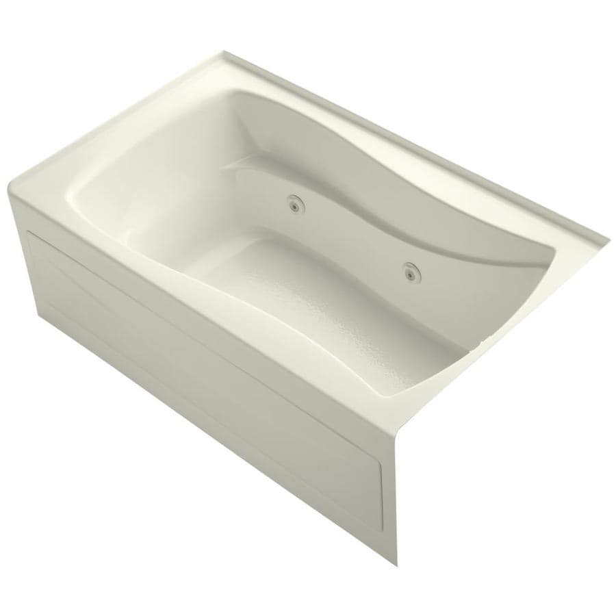 KOHLER Mariposa 60-in Biscuit Acrylic Alcove Whirlpool Tub with Right-Hand Drain