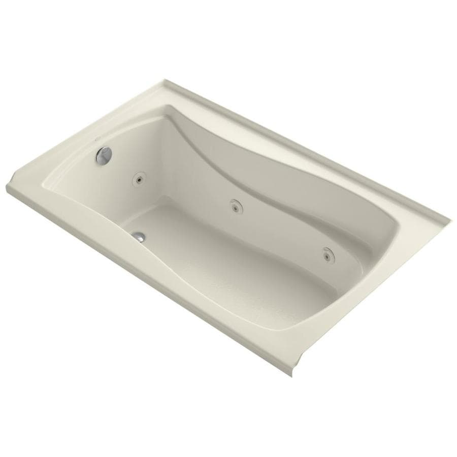 KOHLER Mariposa Almond Acrylic Hourglass In Rectangle Alcove Whirlpool Tub (Common: 36-in x 60-in; Actual: 21.25-in x 36-in)