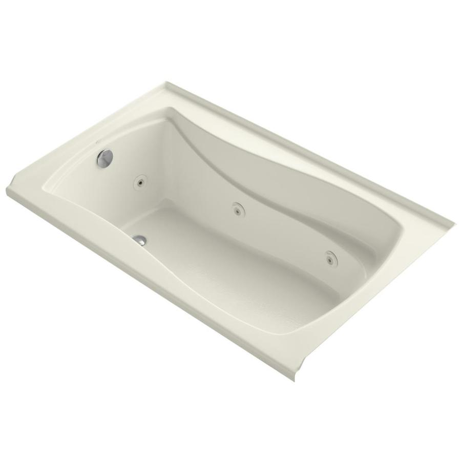 KOHLER Mariposa Biscuit Acrylic Hourglass In Rectangle Alcove Whirlpool Tub (Common: 36-in x 60-in; Actual: 21.25-in x 36-in)