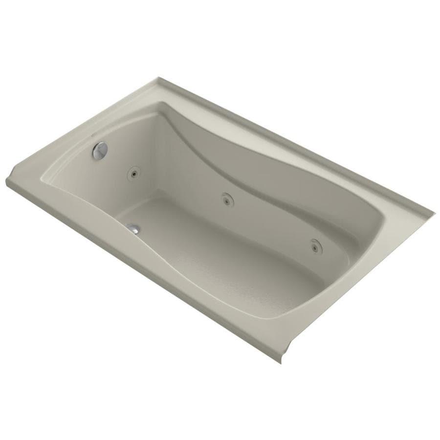 KOHLER Mariposa 60-in Sandbar Acrylic Alcove Whirlpool Tub with Left-Hand Drain