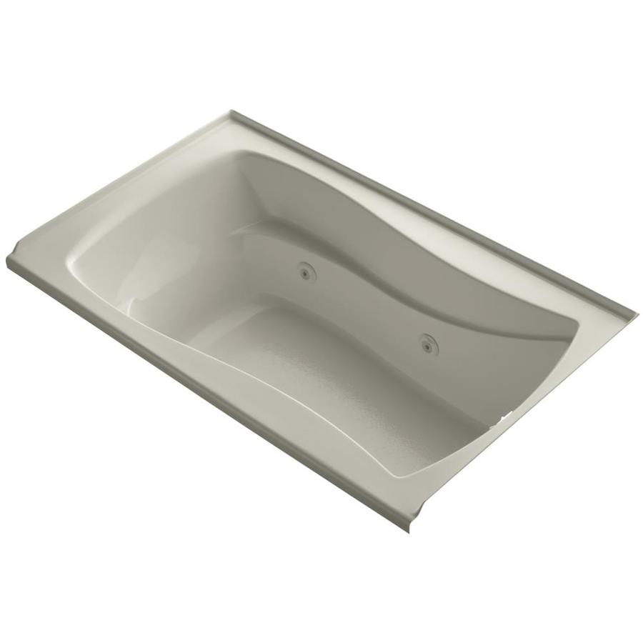 KOHLER Mariposa 60-in Sandbar Acrylic Alcove Whirlpool Tub with Right-Hand Drain
