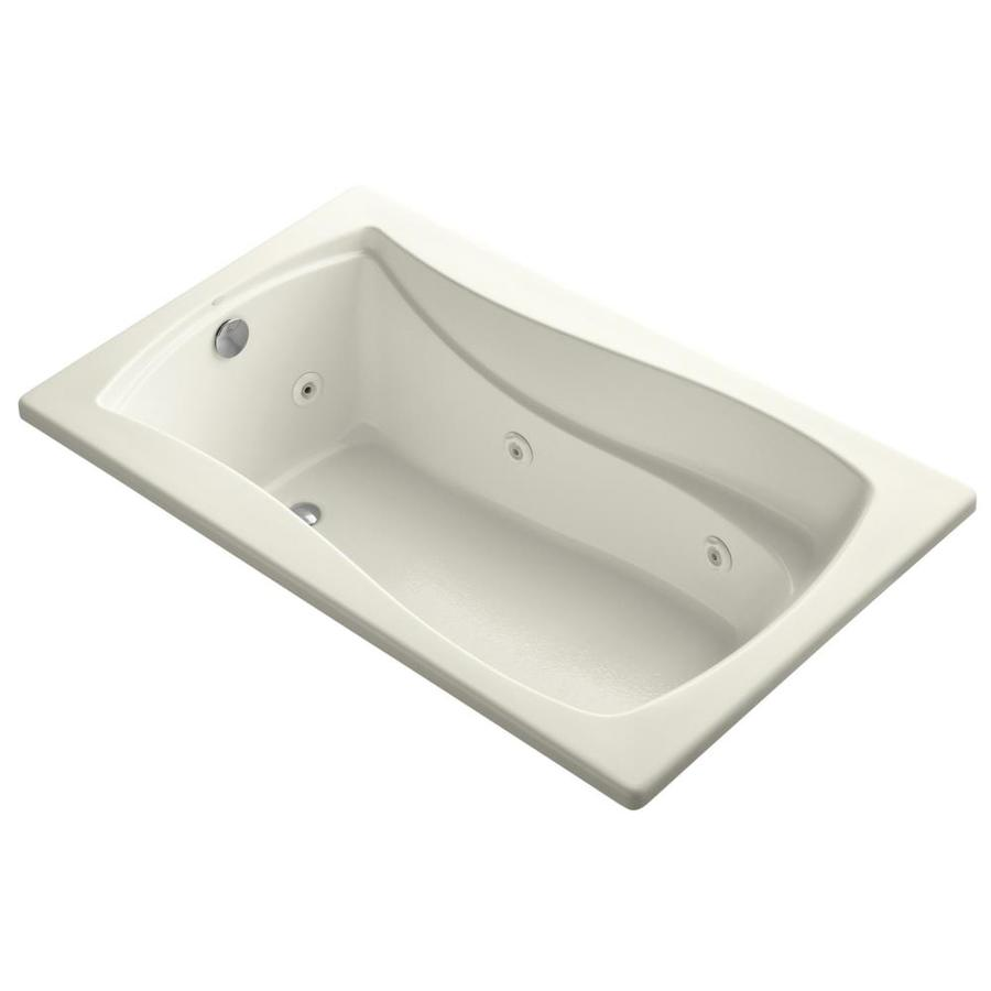 KOHLER Mariposa 60-in Biscuit Acrylic Drop-In Whirlpool Tub with Reversible Drain