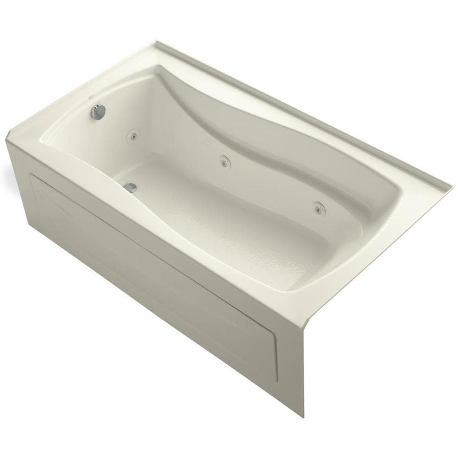 KOHLER Mariposa Almond Acrylic Hourglass In Rectangle Alcove Whirlpool Tub (Common: 36-in x 66-in; Actual: 21.25-in x 36-in)