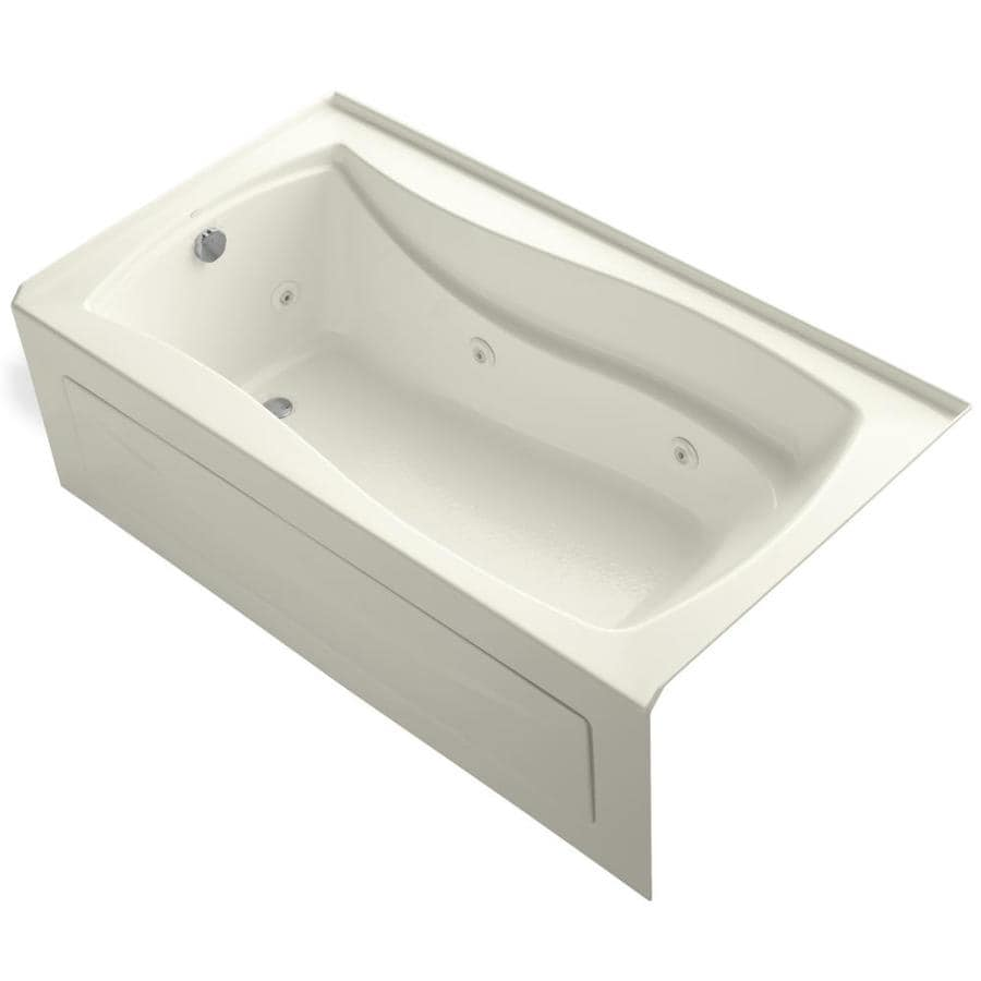 KOHLER Mariposa 66-in Biscuit Acrylic Alcove Whirlpool Tub with Left-Hand Drain