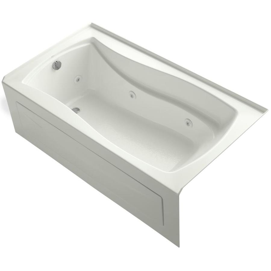 KOHLER Mariposa 66-in Dune Acrylic Alcove Whirlpool Tub with Left-Hand Drain