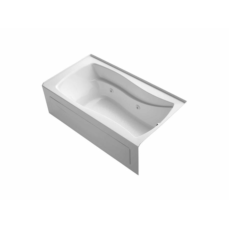 KOHLER Mariposa White Acrylic Hourglass In Rectangle Whirlpool Tub (Common: 36-in x 66-in; Actual: 21.25-in x 36-in x 66-in)