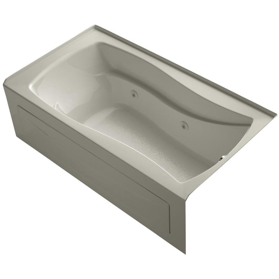 KOHLER Mariposa Sandbar Acrylic Hourglass In Rectangle Alcove Whirlpool Tub (Common: 36-in x 66-in; Actual: 21.25-in x 36-in)