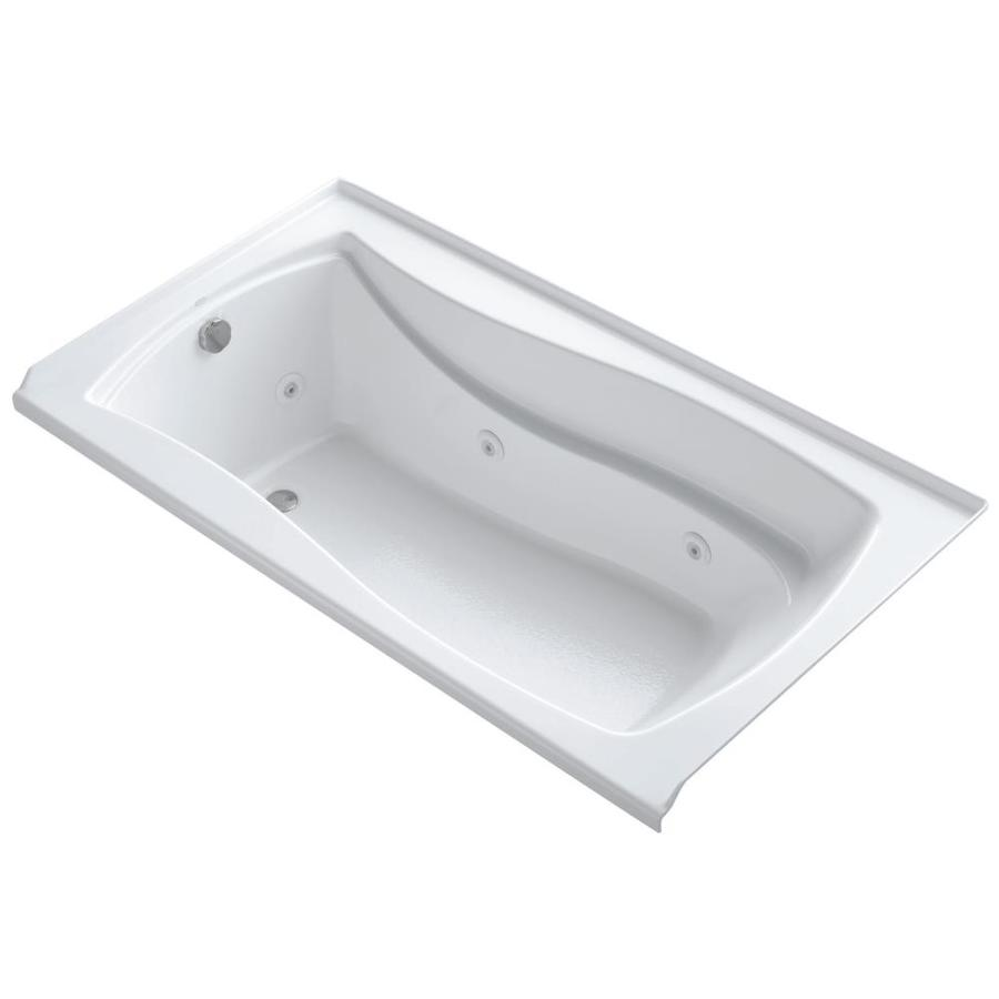 KOHLER Mariposa White Acrylic Hourglass In Rectangle Alcove Whirlpool Tub (Common: 36-in x 60-in; Actual: 21.25-in x 36-in)
