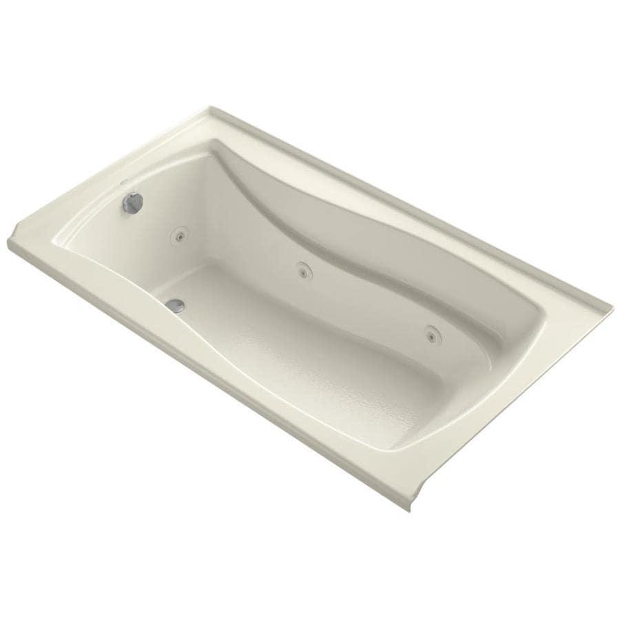 KOHLER Mariposa 60-in Almond Acrylic Alcove Whirlpool Tub with Left-Hand Drain