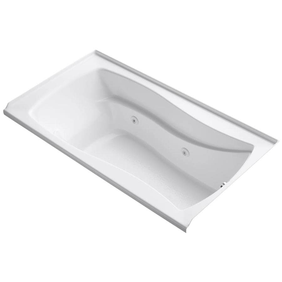 KOHLER Mariposa White Acrylic Hourglass In Rectangle Alcove Whirlpool Tub (Common: 36-in x 66-in; Actual: 21.25-in x 36-in)