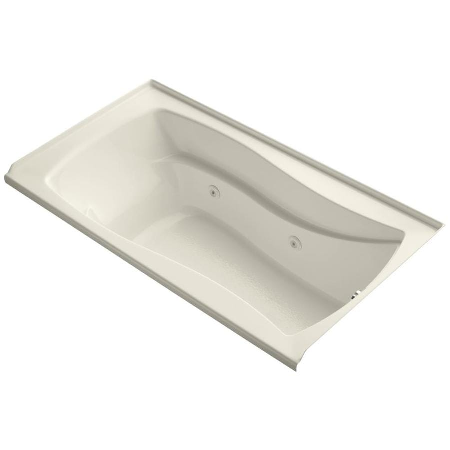 KOHLER Mariposa 66-in Almond Acrylic Alcove Whirlpool Tub with Right-Hand Drain