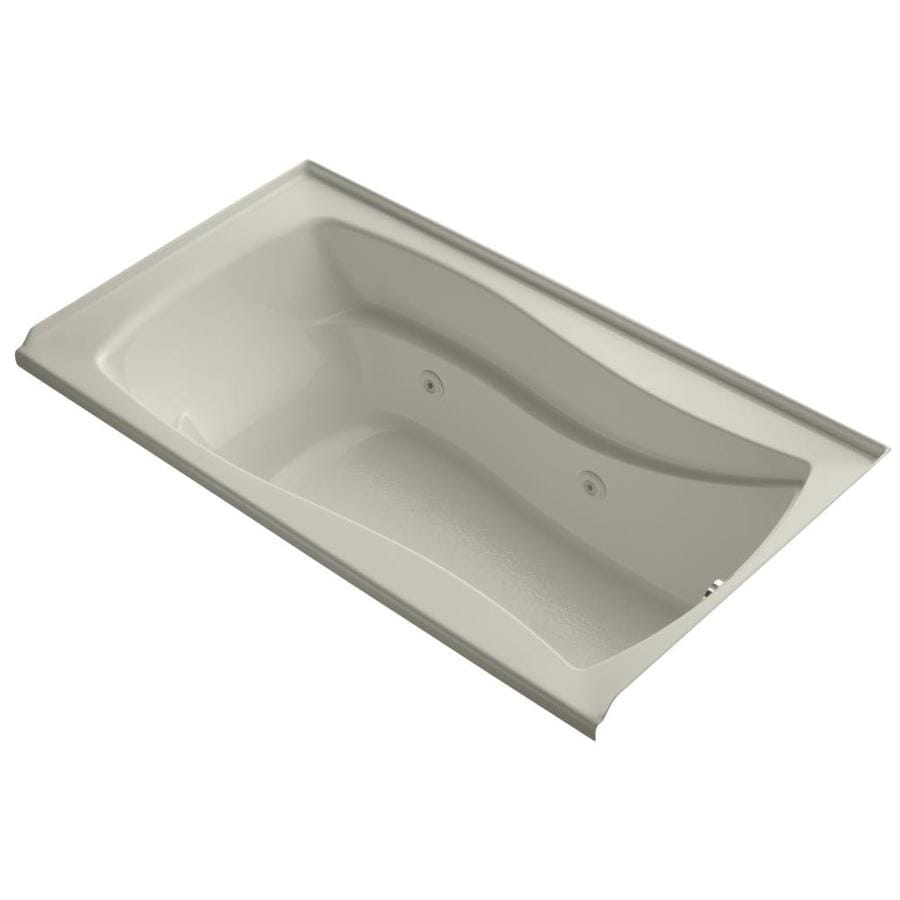 KOHLER Mariposa 66-in Sandbar Acrylic Alcove Whirlpool Tub with Right-Hand Drain