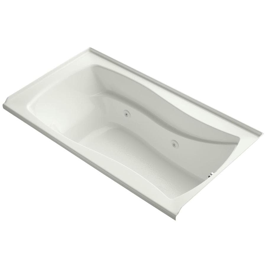 KOHLER Mariposa Dune Acrylic Hourglass In Rectangle Alcove Whirlpool Tub (Common: 36-in x 66-in; Actual: 21.25-in x 36-in)