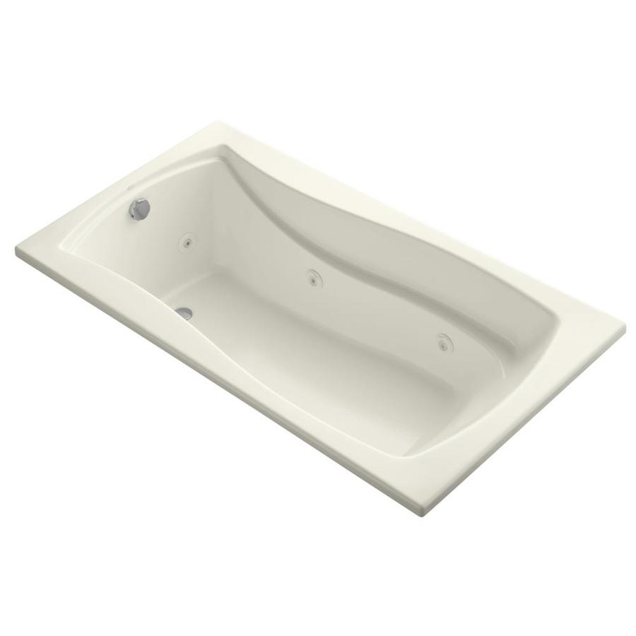 KOHLER Mariposa Biscuit Acrylic Hourglass In Rectangle Drop-in Whirlpool Tub (Common: 36-in x 66-in; Actual: 20-in x 36-in)