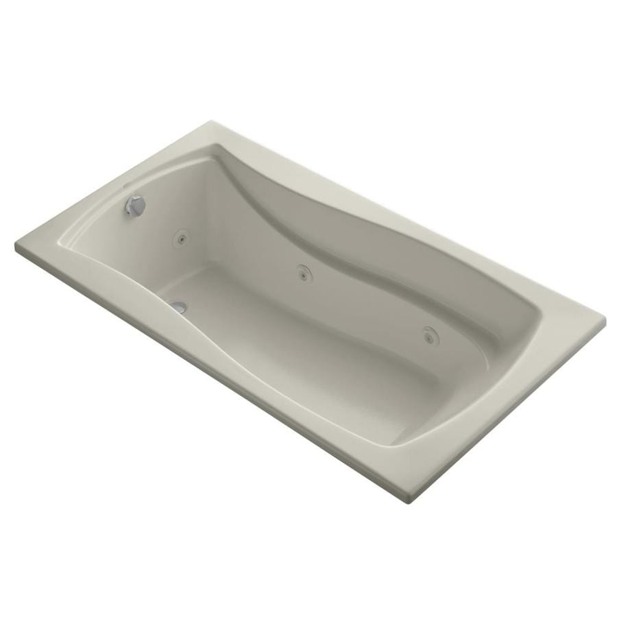 KOHLER Mariposa Sandbar Acrylic Hourglass In Rectangle Drop-in Whirlpool Tub (Common: 36-in x 66-in; Actual: 20-in x 36-in)