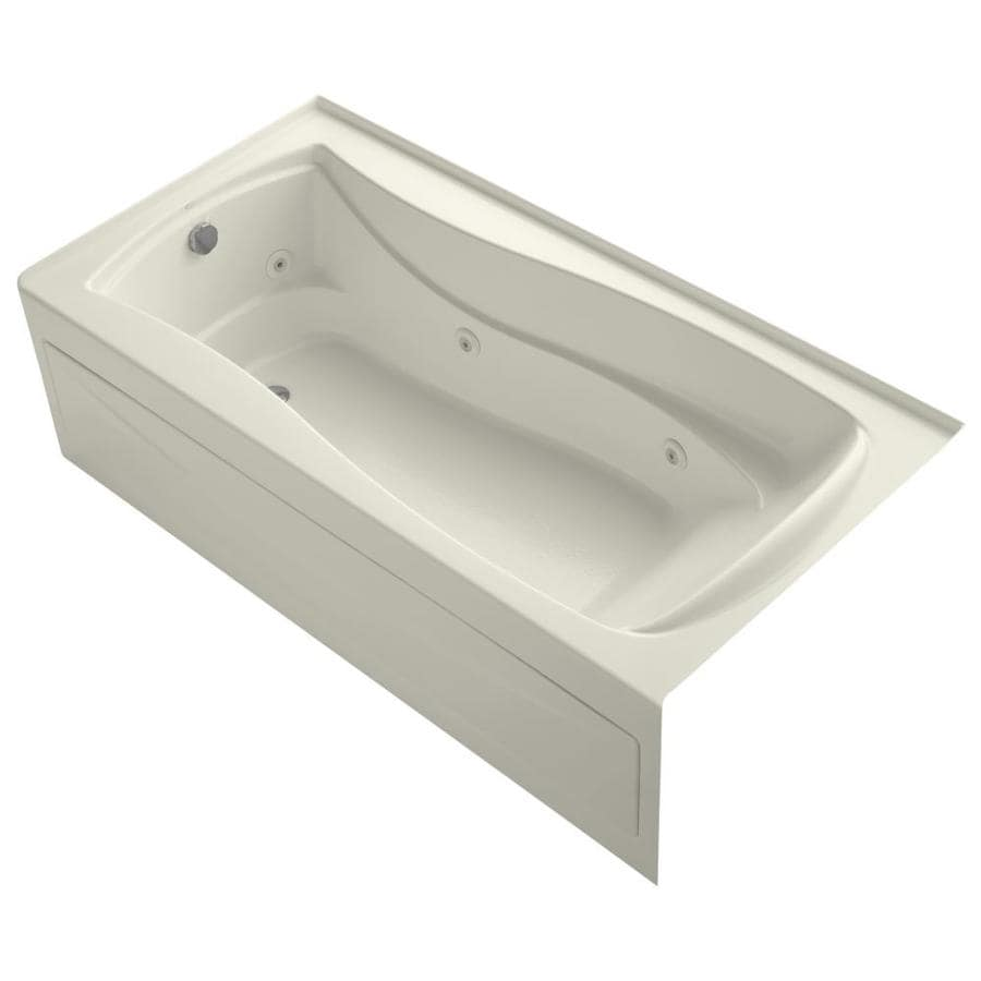 KOHLER Mariposa 72-in Biscuit Acrylic Alcove Whirlpool Tub with Left-Hand Drain